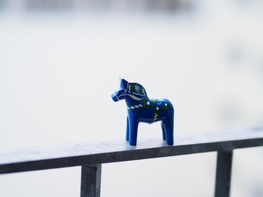 Tiny blue horse